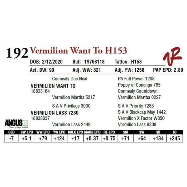 VERMILION WANT TO H153