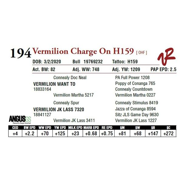VERMILION CHARGE ON H159