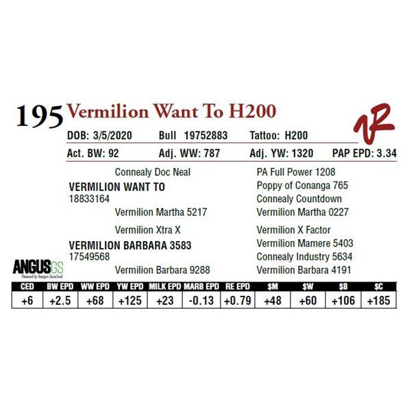 VERMILION WANT TO H200