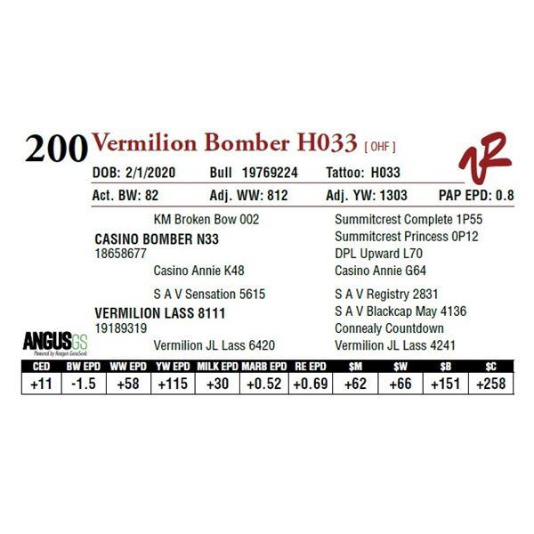 VERMILION BOMBER H033