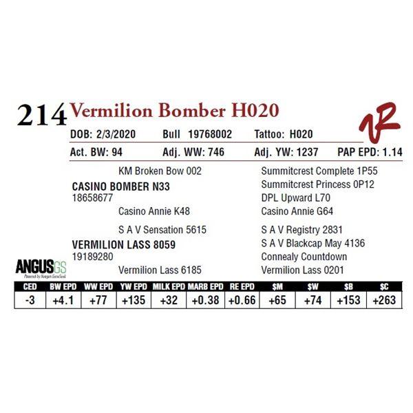 VERMILION BOMBER H020