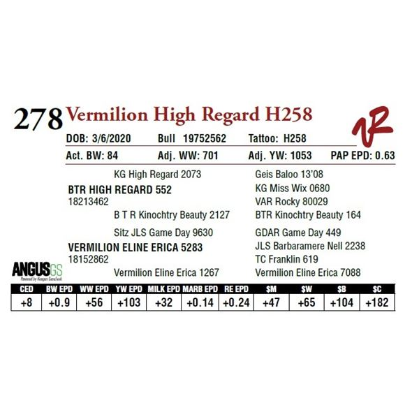 VERMILION HIGH REGARD H258