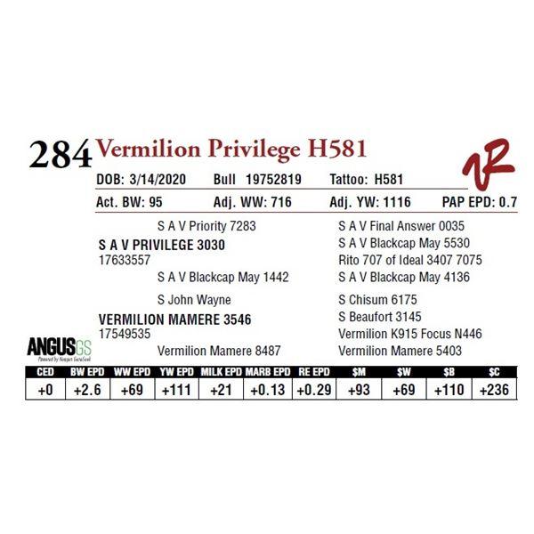 VERMILION PRIVILEGE H581