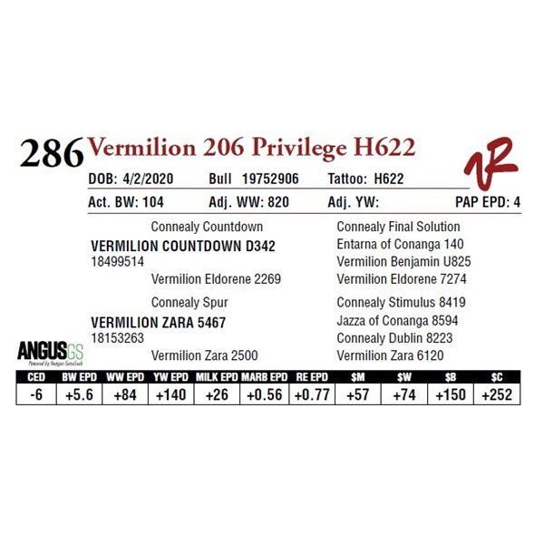 VERMILION 206 PRIVILEGE H622