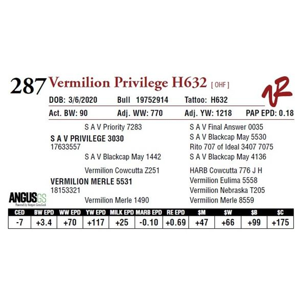 VERMILION PRIVILEGE H632