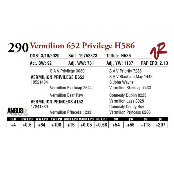 VERMILION 652 PRIVILEGE H586