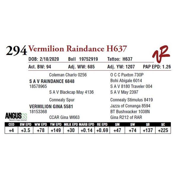VERMILION RAINDANCE H637