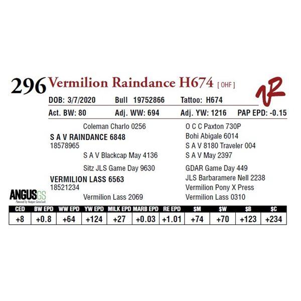 VERMILION RAINDANCE H674