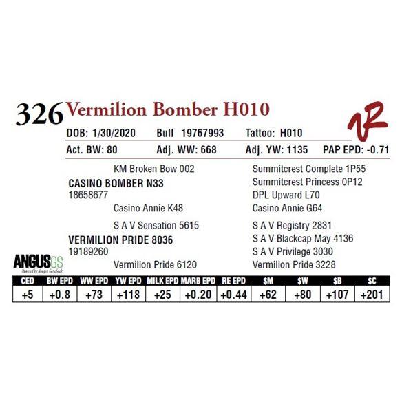 VERMILION BOMBER H010