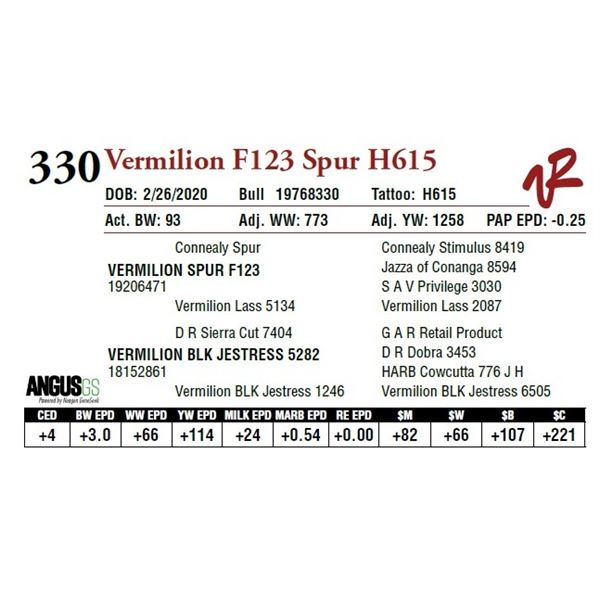 VERMILION F123 SPUR H615