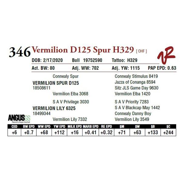 VERMILION D125 SPUR H329