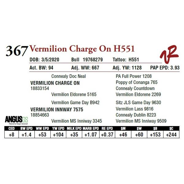 VERMILION CHARGE ON H551