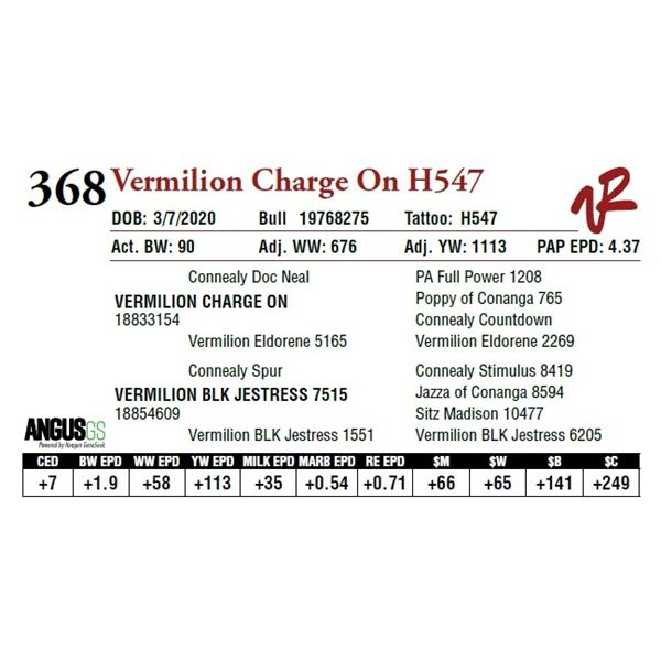 VERMILION CHARGE ON H547