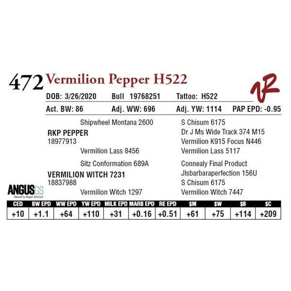 VERMILION PEPPER H522