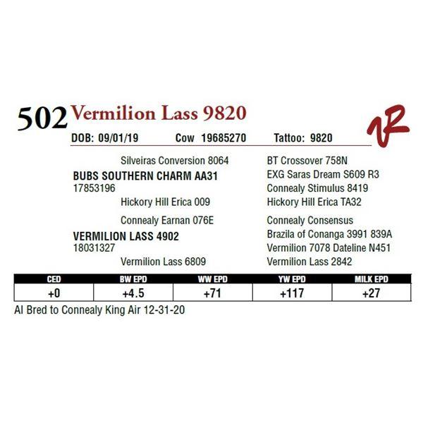 VERMILION LASS 9820