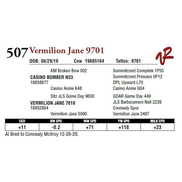 VERMILION JANE 9701