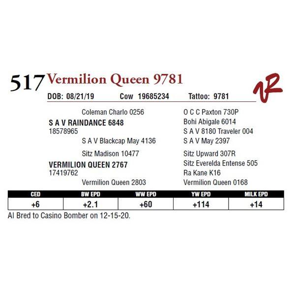 VERMILION QUEEN 9781