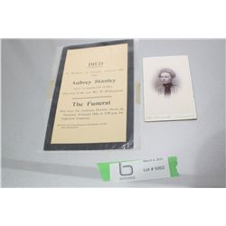 1905 FUNERAL CARD & 1904 CABINET CARD