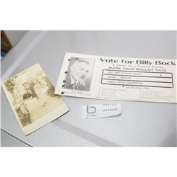 MAPLE CREEK SK LIBERAL PARTY CARD & 1910 COWBOY POSTCARD WITH REAL PISTOL