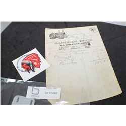 RED INDIAN INVOICE & DECAL