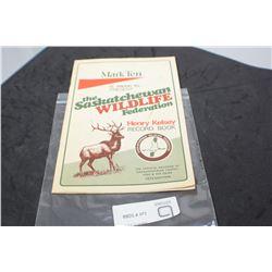 MARK TEN CIGARETTTES SASKATCHEWAN RECORD WILDLIFE BOOKLET
