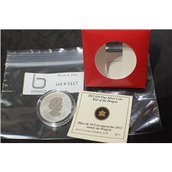 CANADA 2012 $10 DOLLAR FINE STERLING SILVER COIN