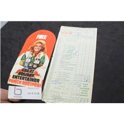 CANADA DRY LOT 1950 INVOICE AND ANN MARGRET AD