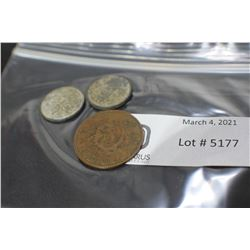 2 DUTCH WW2 COINS AND CHINESE COIN