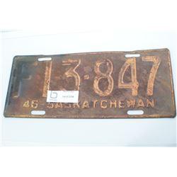 1946 SASKATCHEWAN LICENSE PLATE
