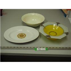 VINTAGE PLATE & 2 VINTAGE BOWLS (1 IS GLASS)