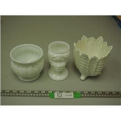(3) WHITE VASES