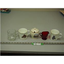 RED GLASS CREAMER, PLUS CUPS & SUGAR BOWL (NO SPOON)