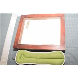 WOODEN SHADOWBOX & EXERCISE WEIGHT