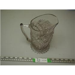 VINTAGE FANCY GLASS PITCHER (HAS CRACK)