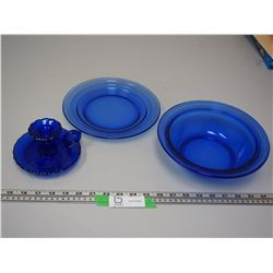 BLUE GLASS BOWL, PLATE & CANDLE HOLDER ( BOWL HAS CHIP, CANDLE HOLDER HAS CHIP)