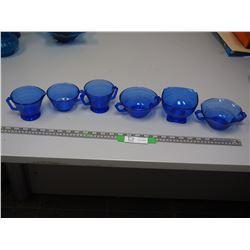 6 BLUE GLASS PIECES