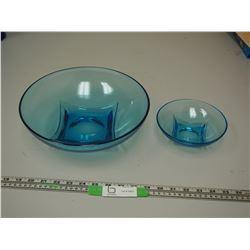 (2) BLUE GLASS BOWLS