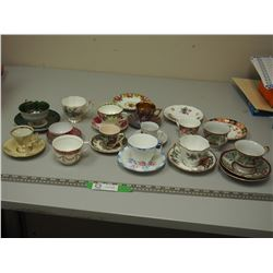 VINTAGE CUPS & SAUCERS (1 IS FOOTED)
