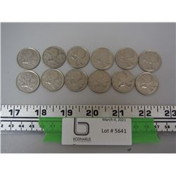LOT OF 12 CANADIAN QUARTERS ALL 1968