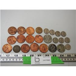 LOT OF OLD COINS 1919, 1915, 1920-1930'S ONE PENNY PLUS OTHER COINS (POOR CONDITION)