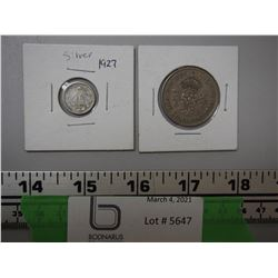 1927 10 CENTAVOS (SLIVER) PLUS 1948 TWO SHILLINGS COINS
