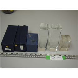 (3) GLASS 30 PAPER WEIGHTS WITH CASES