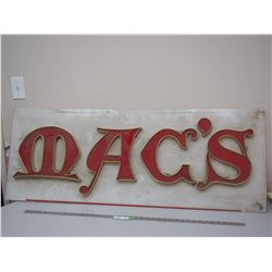 ADVERTISING SIGN ON PLEXIGLASS (50 X 19 IN WIDE)