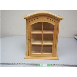WOODEN DISPLAY CABINET (15 X 20 1/2 IN TALL 5IN DEEP)