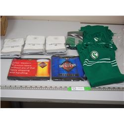 SASK ROUGHRIDERS SCARVES PLUS MISC BEER ADVERTISING ITEMS