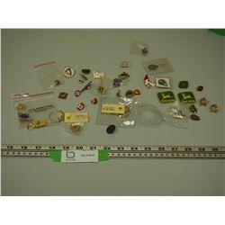 JOHN DEERE PINS, PETER BUILT, MACK PINS, JOHN DEERE PATCHES & OTHER PINS