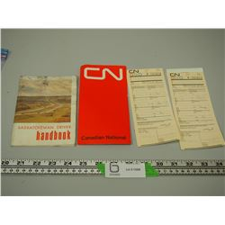 (2) 1972 CN BOARDING PASSES PLUS HARDBOOK
