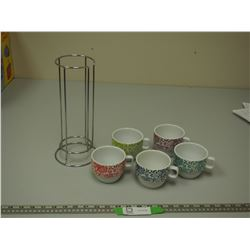 (5) WORLD MARKET CUPS & HOLDER