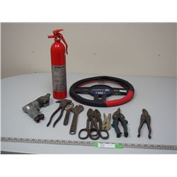 FIRE EXTINGUISHER, STERRING WHEEL COVER PLUS HAND TOOLS