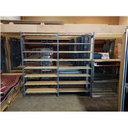 2 SECTIONS EZ-RECT SHELVING UNITS W/ 8 SHELVES EACH (16 SHELVES TOTAL) - 96 INCH TALL, 48 INCH WIDE,